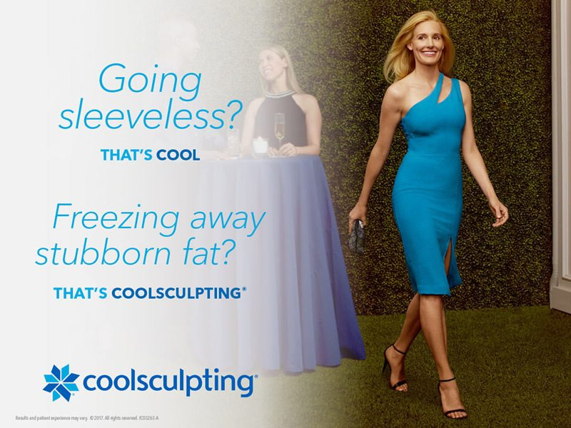Coolsculpting woman in blue sleeveless dress