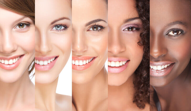 Five Women's Faces with Differient Skin Types